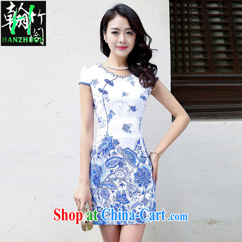 Wickham's Bamboo Pavilion 2015 new short-sleeved cultivating cheongsam dress stylish summer day cultivating retro dresses short skirt dress light blue flower XXL
