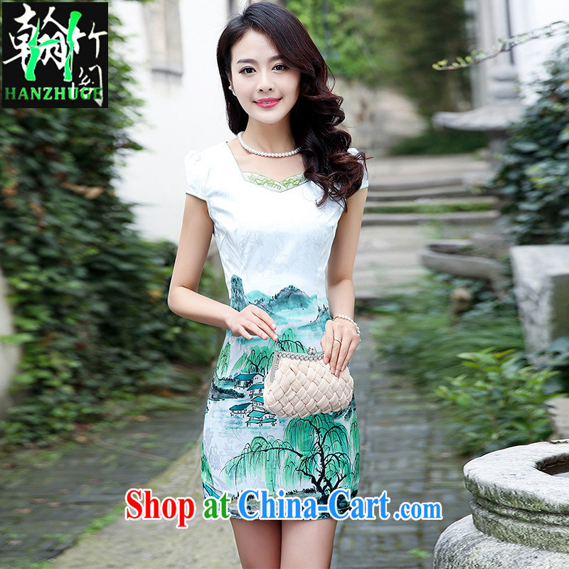 Wickham's Bamboo Pavilion 2015 new short-sleeved stamp cheongsam dress girls summer beauty retro daily improved Chinese Dress green willows XXL