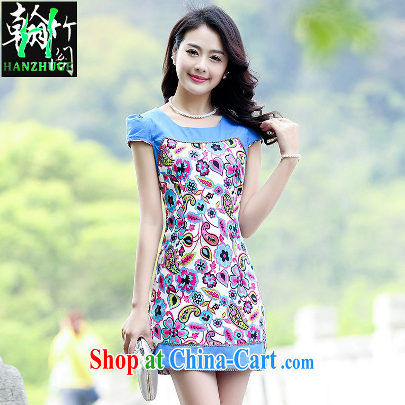 Han bamboo Pavilion 2015 summer short-sleeve stamp duty stitching cheongsam dress retro new and improved graphics thin everyday dress women of saffron XXL
