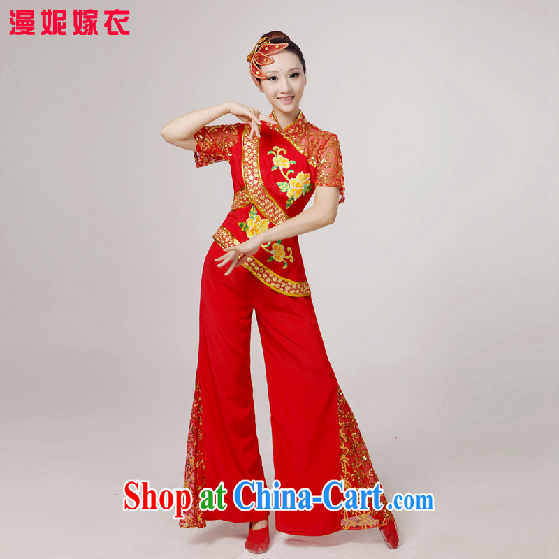 2015 spring and summer new yangko dance clothing, older women show their classical dance Yangge clothing waist encouraging Fan Dance Service Package square dance performances serving red XS