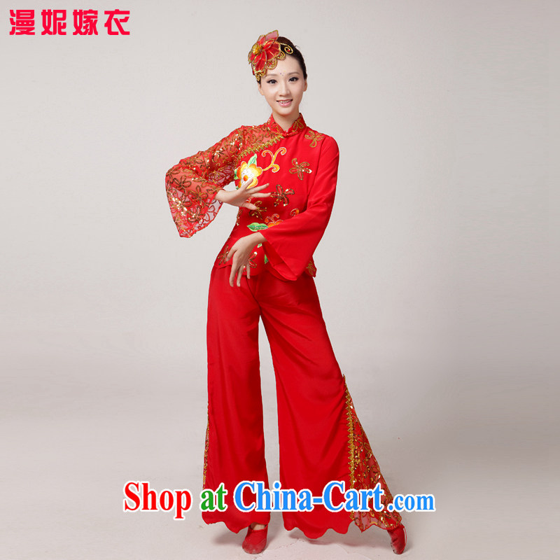 2015 new yangko dance clothing from Koguryo fan dance show dancers, older performances serving classic ethnic dance clothing dance clothing red XS
