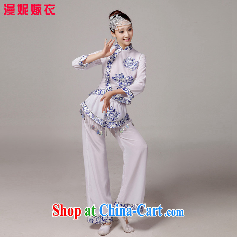 The elderly yangko dance clothing costumes ethnic costumes costume new blue and white porcelain show clothing female classical dance clothing dance clothing set service tea service picture color XS