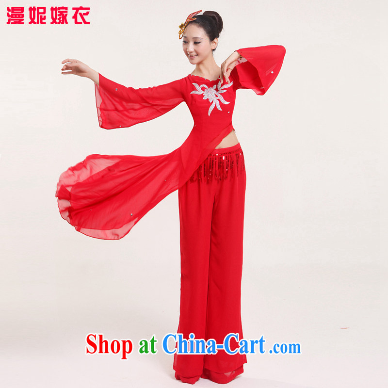 New Ta Kwu Ling opening dancing stage sets, costumes, old yangko Clothing _ Dance clothing exercise clothing classical dance national costumes with stage performances serving red XS