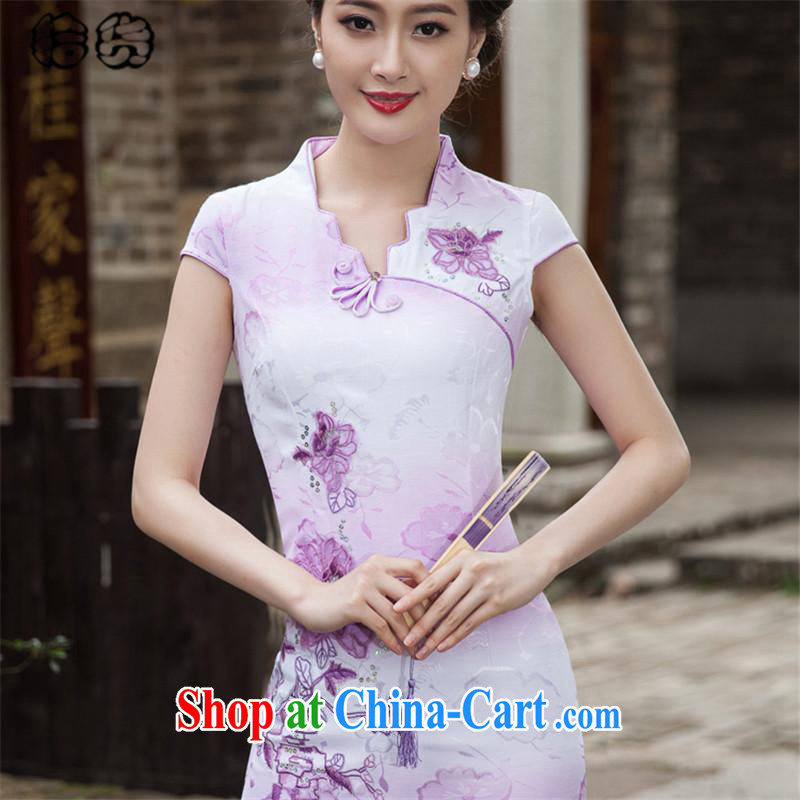 The HELENE ELEGANCE 2015 Mr Ronald ARCULLI and stylish short, without the forklift truck cheongsam dress retro China wind fresh and elegant embroidery flowers Daily Beauty package and cheongsam dress dress violet