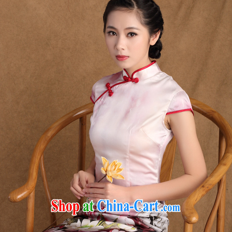 The cross-sectoral Sharolta Nonen-hee 2015 new heavy Silk Cheongsam sauna Silk Cheongsam dress Daily Double the collar cheongsam dress SZ S L 9928