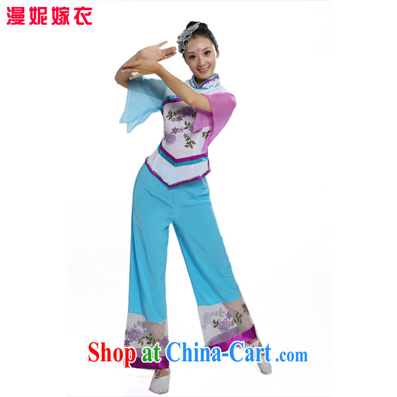 Plaza yangko dance clothes dance clothes 2015 new stage costumes Fan Dance clothing classical dance costumes female package performance in serving older Fan Dance clothing light blue XS