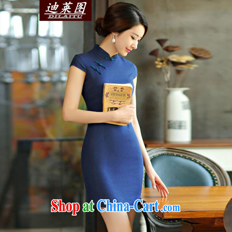 At the 2015 lichee, Knitted cuffs cheongsam shirt improved China wind Chinese Tang Women's clothes Ethnic Wind dark blue XXL