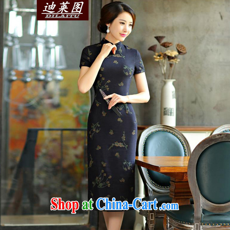 At the 2015 cheongsam dress retro long spring and autumn 2015 new cheongsam dress improved stylish Sau San Su Mei Lan XXL
