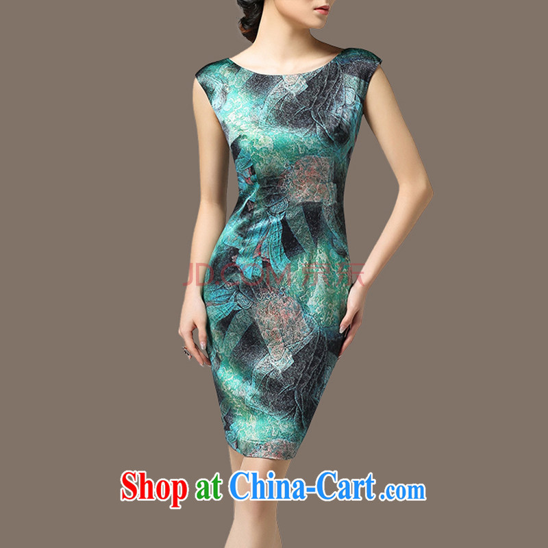 Buddha, 2015 nice new dress summer beauty aura video thin stamp skirt the code sleeveless dresses Green S