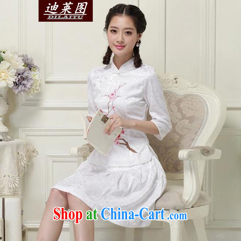 At the 2015 cheongsam Chinese China wind spring and summer short-sleeve two piece set new and improved white XL
