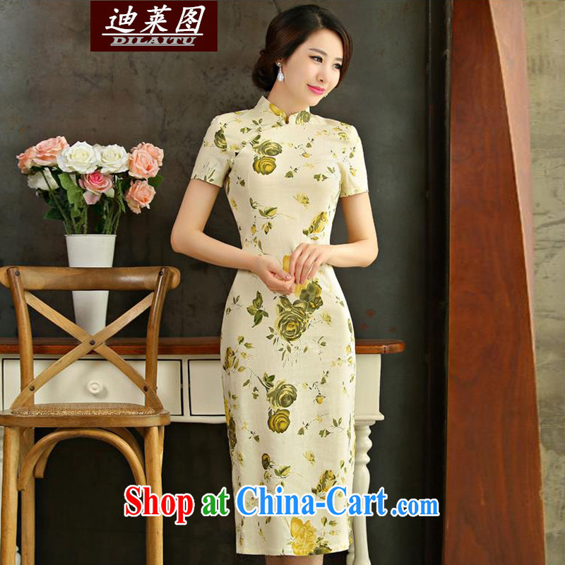 At the 2015 cheongsam dress retro long spring and autumn 2015 new cheongsam dress improved stylish beauty Huangmei XXL