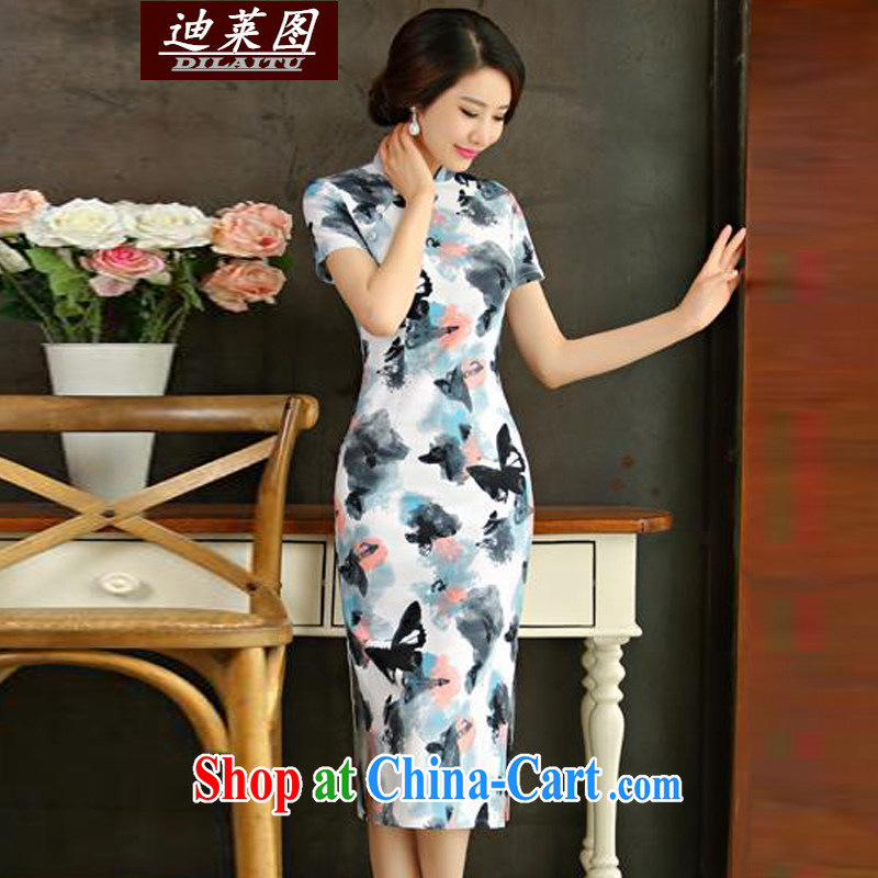 At the cheongsam dress retro long, spring and autumn 2015 new cheongsam dress improved stylish beauty dish ink XXL