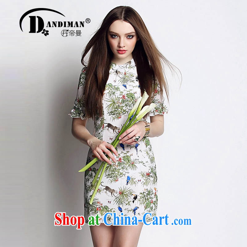 DANDIMAN 2015 summer dress short-sleeved larger female dresses, stamp duty is silk dresses picture color XL