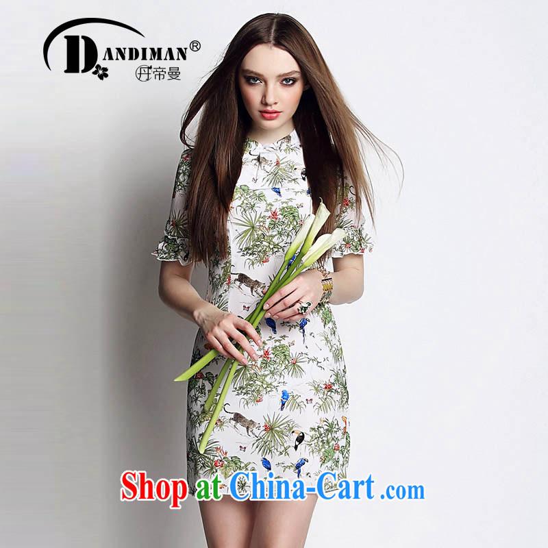 DANDIMAN 2015 summer dress short-sleeved larger female dresses, stamp duty is silk dresses picture color XL