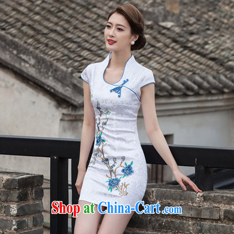 The Greek Diana, summer 2015 new Chinese antique dresses and stylish high-end embroidery daily dresses dresses blue XL