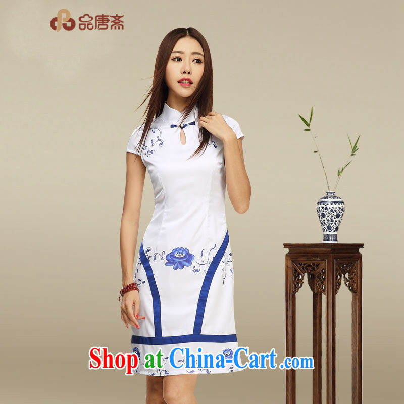 Mr Tang, Id al-Fitr improved cheongsam dress 2015 summer new stylish stamp skirt daily blue and white porcelain cheongsam dress picture color XL