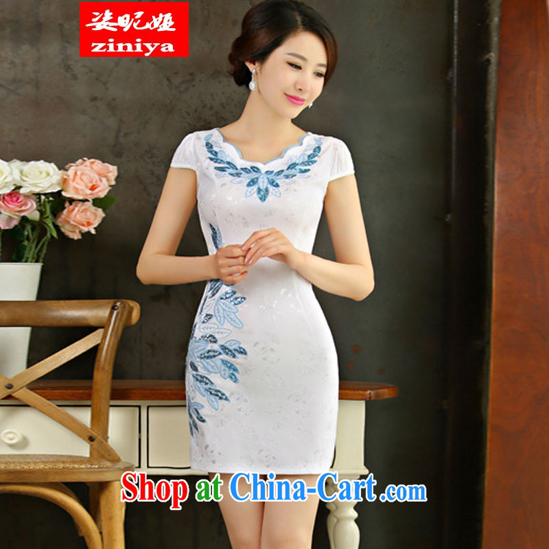 Colorful nickname Julia summer 2015 new improved female cheongsam dress retro beauty everyday dresses short white dresses XXL