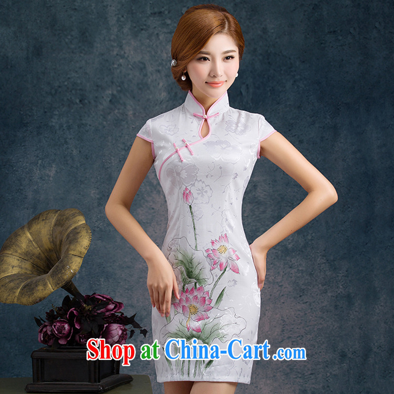 Mrs Alexa Lam go scot summer 2015 new stylish lady improved daily short cheongsam 00,251 pink L