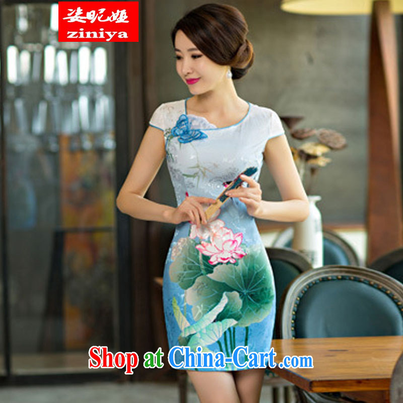 Colorful nickname Julia 2015 summer dresses, stylish beauty Lotus the gradient improved fashion cheongsam dress LAN XXL