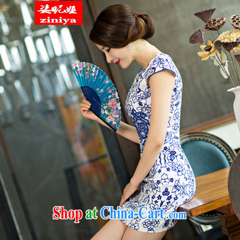 Colorful nickname Julia 2015 new women pack and dresses skirts short, improved stylish blue and white porcelain dress blue and white porcelain XXL, colorful nicknames, and, shopping on the Internet