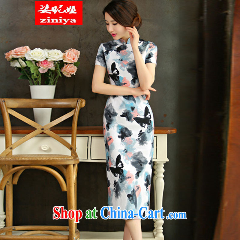 Colorful nickname Julia 2015 spring and summer beauty retro graphics thin short sleeves in the Code improved linen long cheongsam dress the dish 9010 XXL