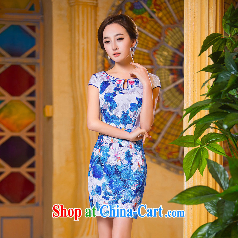 Love Life, for retro 2015 summer new round-collar onyx stone beauty graphics thin package and robes blue XS