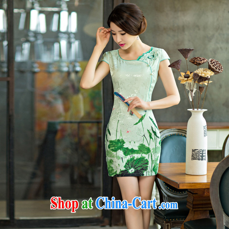 The Greek Diana, 2015 summer improved female cheongsam dress retro beauty everyday dresses short dresses green XXL