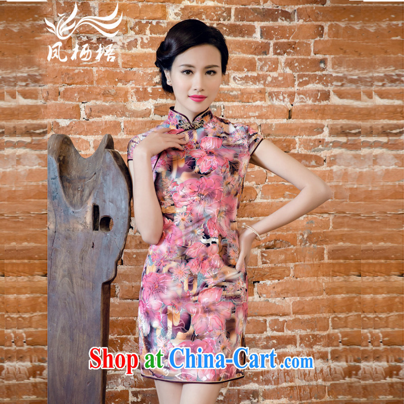 Bong-amphibious Ori-summer 2015 new true wool dresses retro, Korean velvet cheongsam dress skirt DQ 15,140 fancy XXL