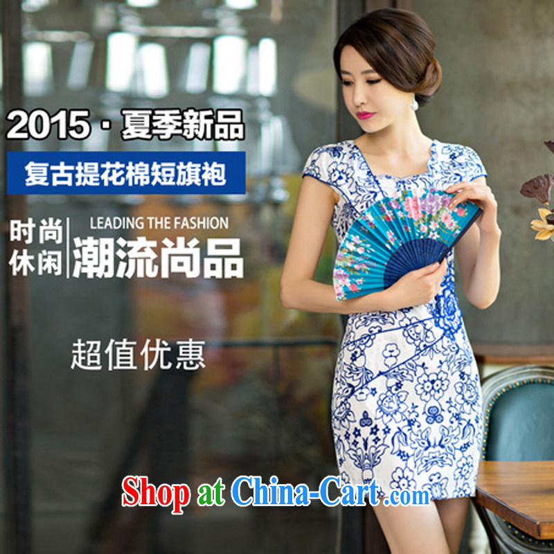 The Greek Diana, 2015 new daily female package dresses and short skirts, improved stylish blue and white porcelain dress blue and white porcelain XXL, Diane (XIDAIYUE), and shopping on the Internet