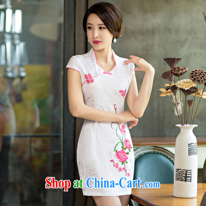 Yi Yi Lian Lian 2015 summer new, improved female cheongsam dress retro beauty everyday dresses short dresses, pink XL