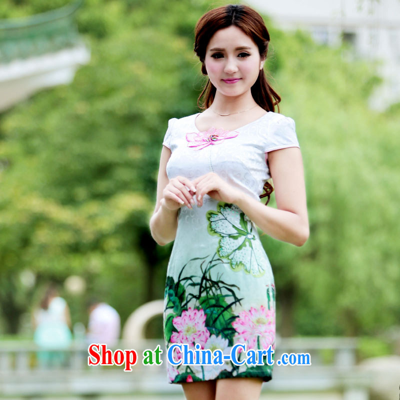 Yi Yi Lian Lian 2015 summer new stamp antique cheongsam dress Lotus jacquard short sleeve wedding dress cultivating improved cheongsam summer pink XL