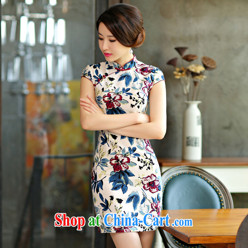 Yi Yi Lian Lian 2015 summer new cheongsam dress summer basket stamp duty the retro improved cultivation short daily outfit white XL