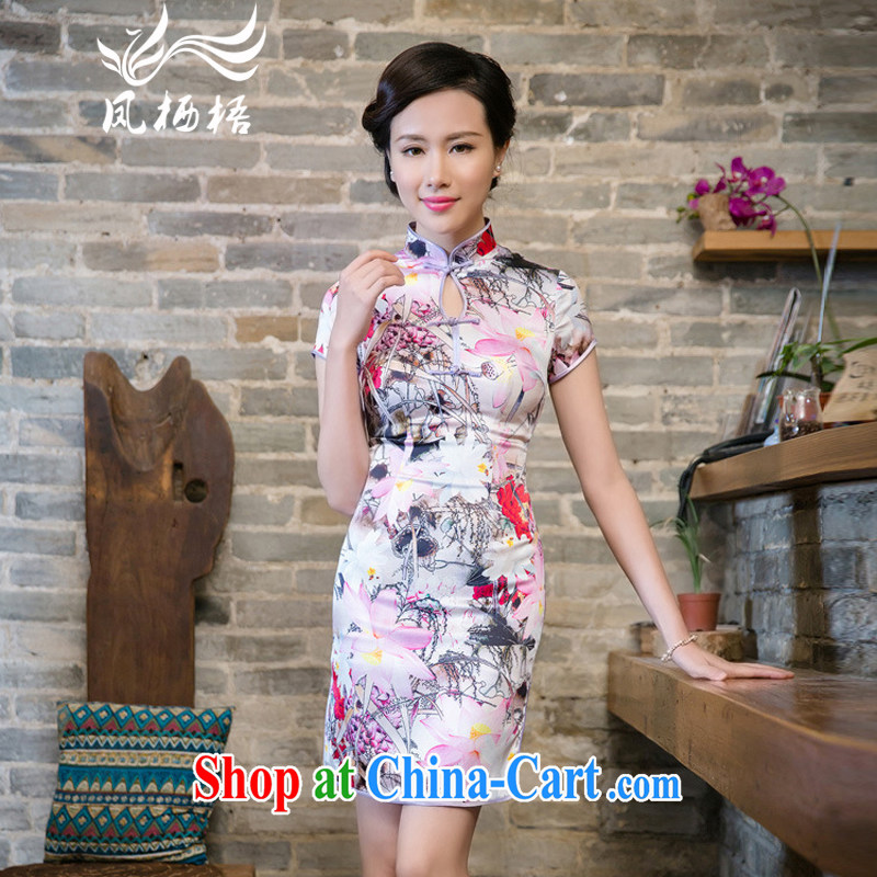 Bong-amphibious NTHU summer 2015 New Silk Cheongsam floral retro stylish sauna silk sexy short sleeve cheongsam dress DQ 15,143 fancy XXL