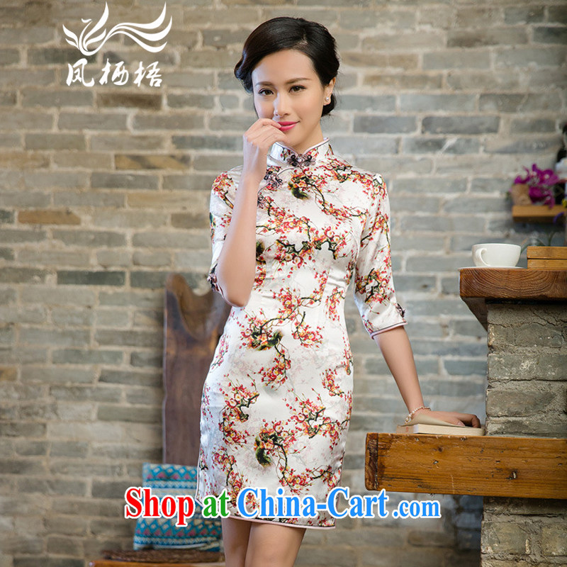 Bong-amphibious NTHU summer 2015 New Silk Cheongsam luxury sauna silk Stylish retro short sleeve cheongsam dress DQ 15,148 fancy XXL