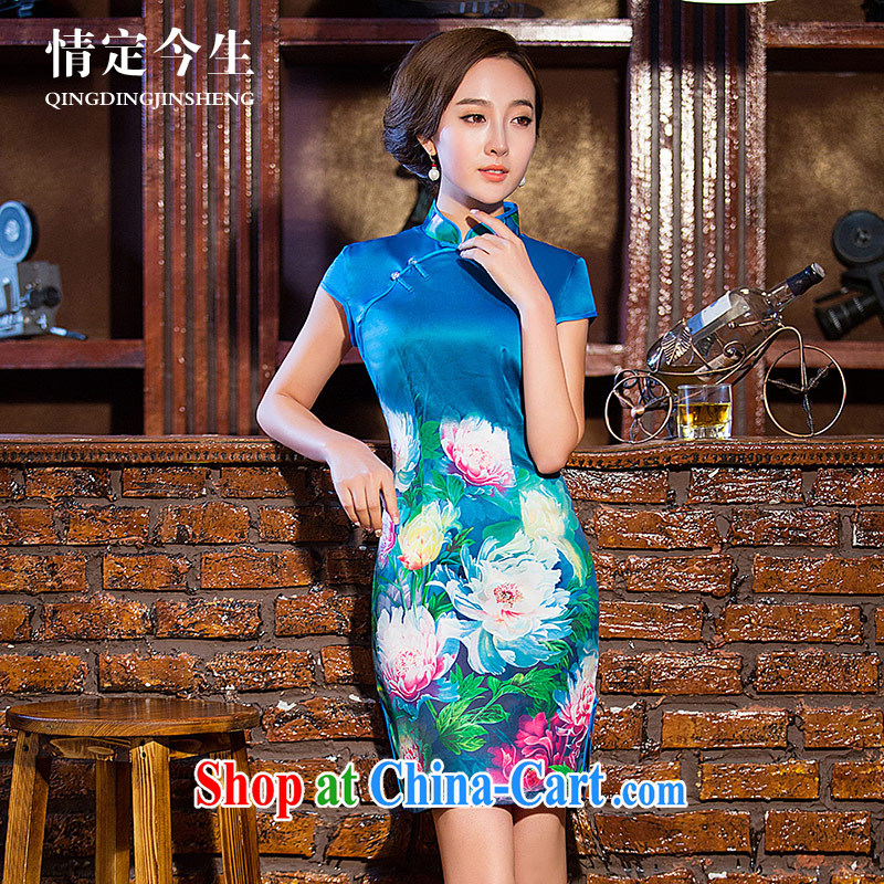 Love Life, for improved 2015 summer new blue stamp elegant lady beauty graphics thin cheongsam blue XL