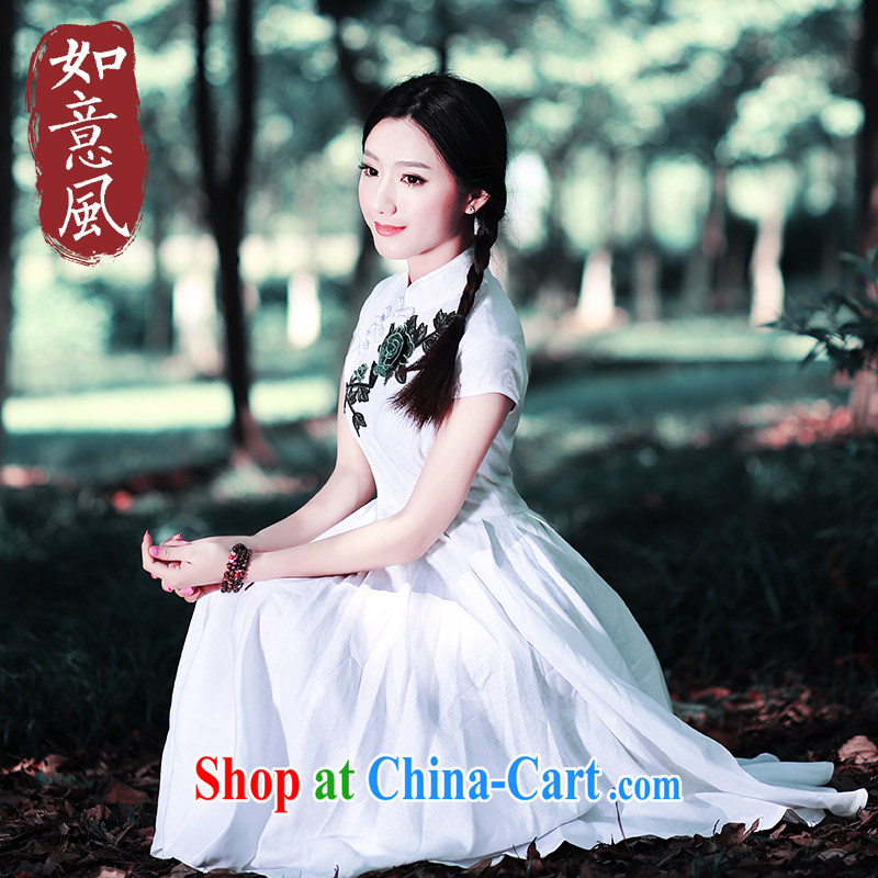 Ruyi wind 2015 retro art, summer, for Dress ethnic wind women's clothing China wind outfit 5410 5410 white XXL