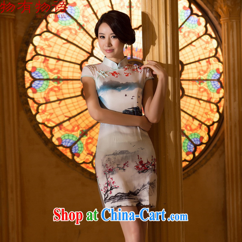 A Chinese Spring 2015 new painting short sleeve cheongsam dress retro fashion China wind everyday, stamp duty dresses picture color XXL