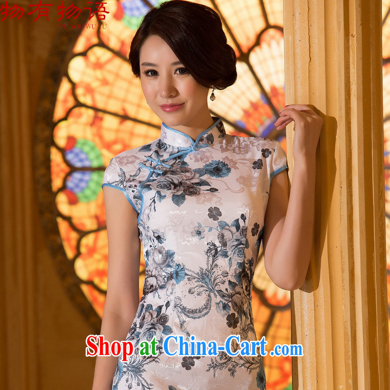 Property is property, sexy cheongsam dress 2015 new spring and summer cultivation improved retro daily short dresses jacquard cotton cheongsam dress picture color XL