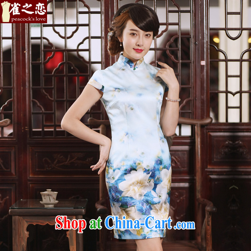 Bird lovers of Nigeria in 2015 new short-sleeved dresses summer improved short-day Silk Cheongsam dress QD 761 flowers half summer XXL