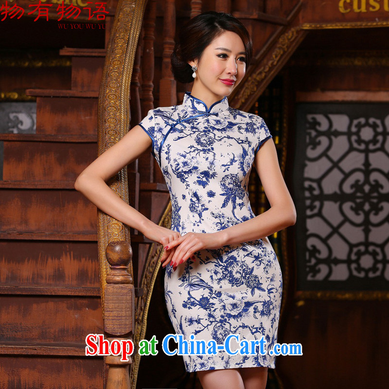 A Chinese qipao new improved stylish beauty Art Nouveau porcelain was short cheongsam dress, older dresses picture color XL