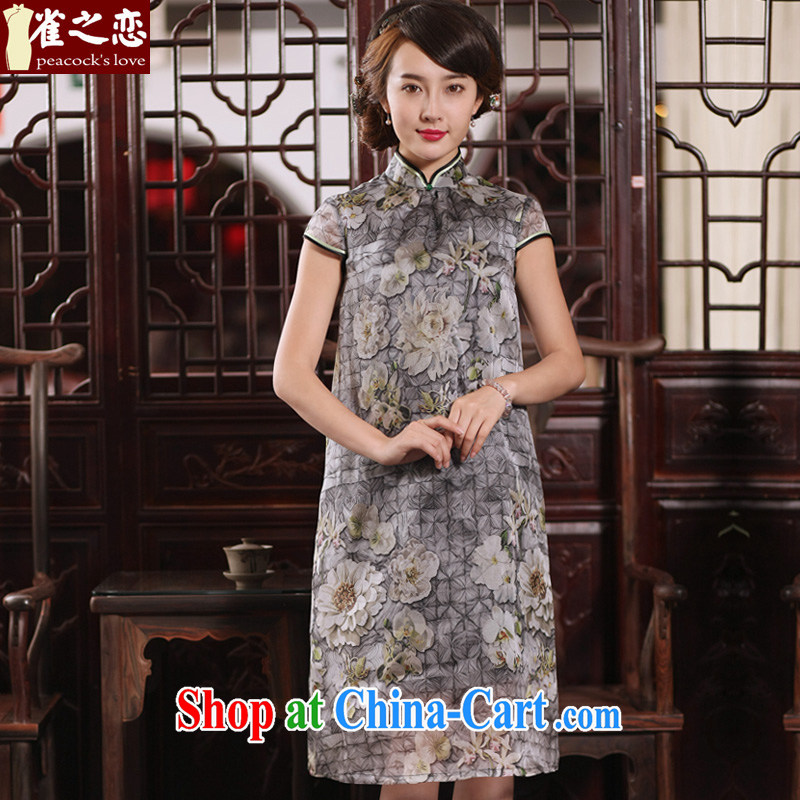 Bird lovers of dull since Tim Hong Kong 2015 New Silk Cheongsam dress 100_ sauna silk loose video thin dresses QD 765 figure XXL