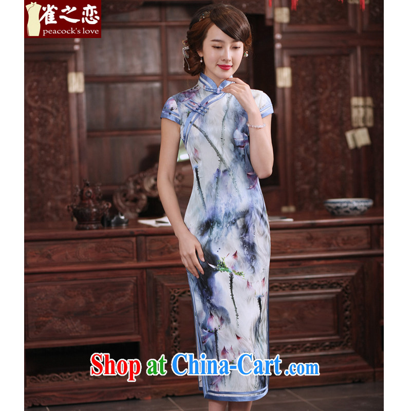 Birds of the land I should be grateful if you love 2015 new summer dresses exclusive sauna silk daily cultivating long cheongsam dress QD 764 figure XXL