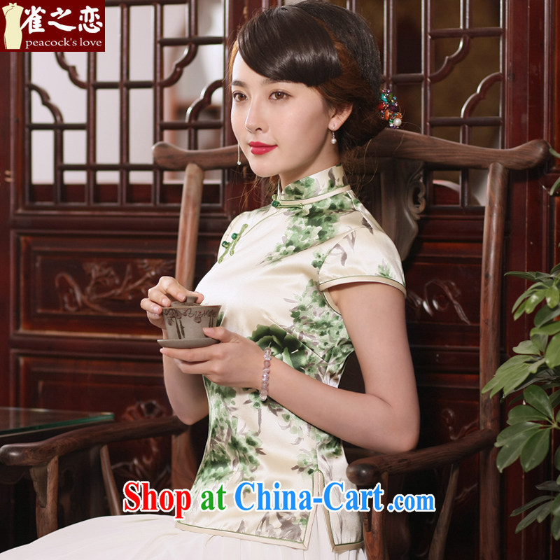 Bird lovers of amphibious sent 2015 new summer uniforms, Chinese wind heavy silk Chinese antique dresses T-shirt girl QD 767 figure XXL