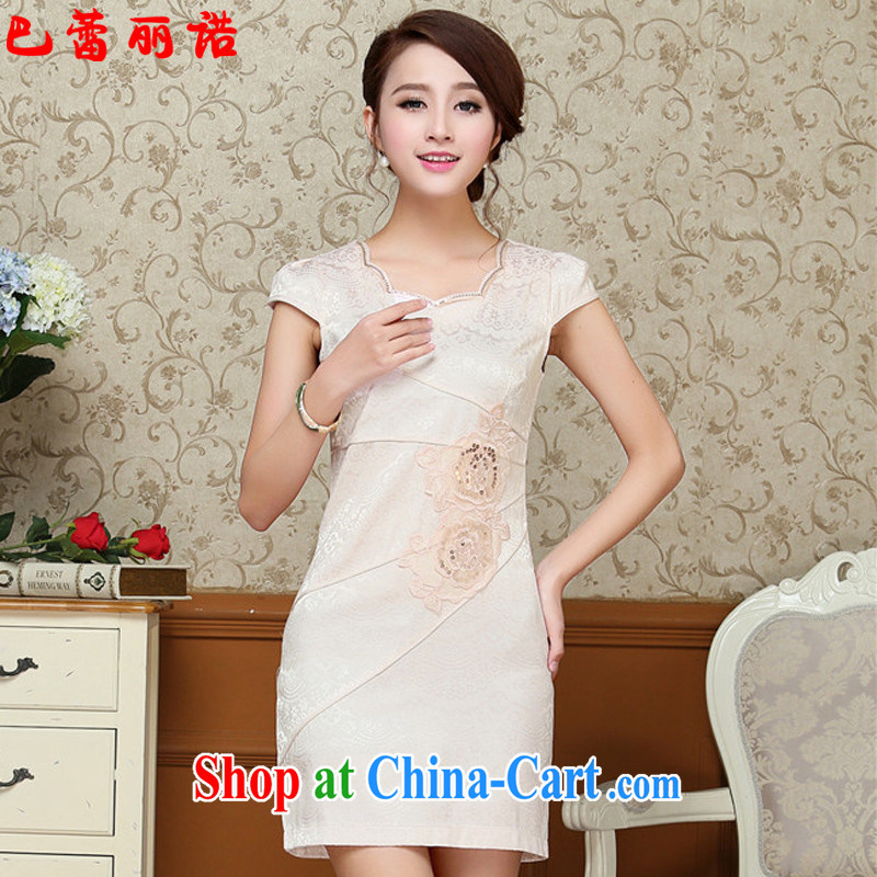 The Ballet, The 2015 female new summer short-sleeved beauty graphics thin stylish package and dress their children with larger embroidered pale yellow XXL