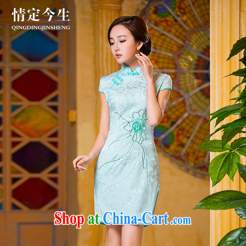 Love of the arts and cultural life for the 2015 summer new, simple and stylish fresh beauty graphics thin cheongsam light blue XXL