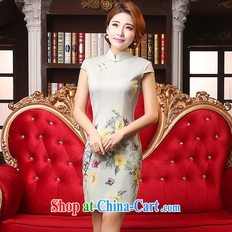 Mrs Alexa Lam go scot dresses new 2015 spring and summer retro dresses short Chinese stamp dress 09,351 green L
