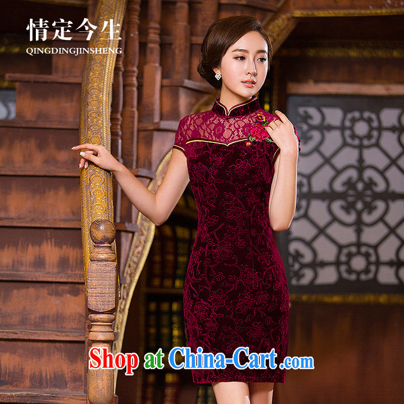 Love Life, for Chinese 2015 summer new Lace Embroidery beauty graphics thin dresses wine red XXL