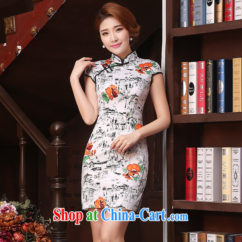 Mrs Alexa Lam go scot summer 2015 new beauty and stylish Garden improved daily cheongsam simple short dresses 06,251 gray L