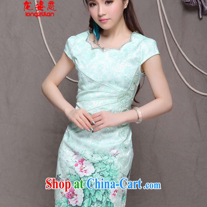 Kowloon City Land 2015 high-end Ethnic Wind stylish Chinese qipao dress retro beauty graphics thin cheongsam FA 033, 9902 green XL