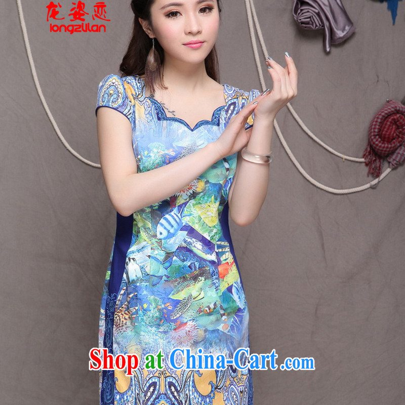 Kowloon City Land summer 2015 embroidered cheongsam high-end ethnic wind and stylish Chinese qipao dress FA 033, 9908 blue L